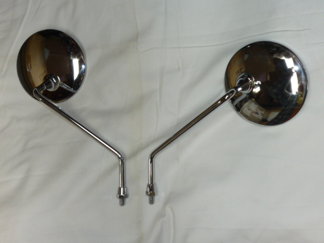 画像1: 丸型メッキミラー (左右セット)  (1)